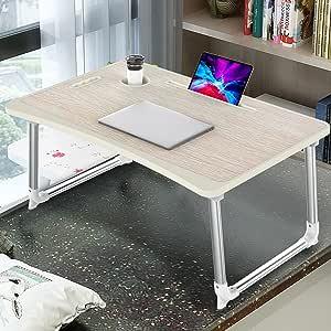Oferta amazon: Mesa para Ordenador Portátil, Portátil Mesa Cama Plegable Mesa Escritorio Plegable con Portavasos/ Soporte para Tableta/ Manija (65*45 cm, Roble Amarillo)