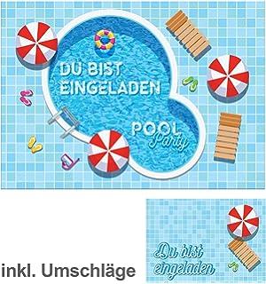12 Einladungskarten Incl. 12 Umschläge Zum Kindergeburtstag Schwimmbad  Party / Pool Party / Schöne Und