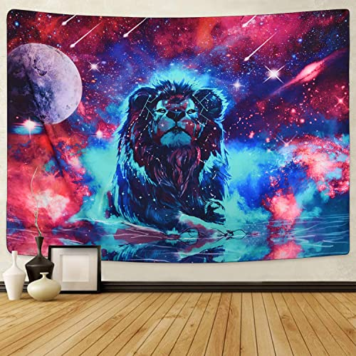 Sevenstars Fantasy Lion Tapestry, Universe Galaxy Tapestry Constellation Meteor Shower Tapestry Wall Hanging Psychedelic Starry Space Tapestry for Living Room Bedroom Dorm