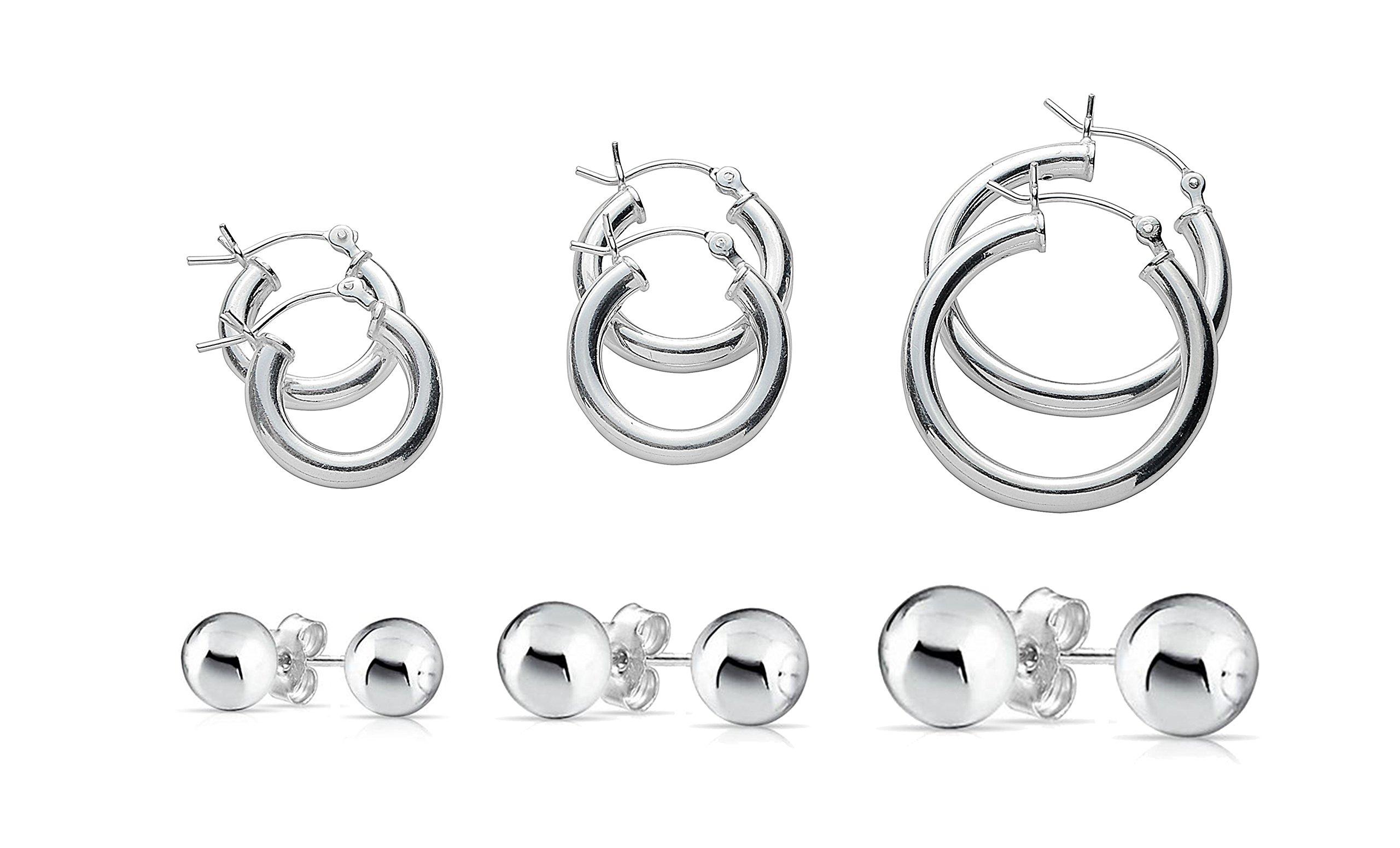 NYC Sterling 6 Pair Italian Hoop and Ball Stud Earrings in Sterling Silver (sterling-silver)