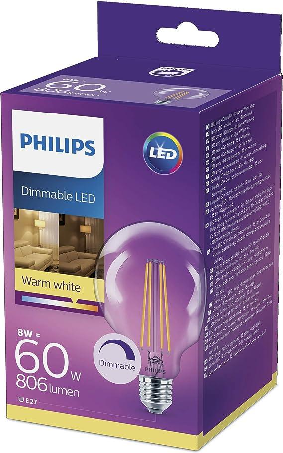 Image ofPhilips Lighting Bombilla  LED Globo de filamento casquillo E27, 8 W equivalentes a 60 W, luz blanca cálida, 806 lúmenes           [Clase de eficiencia energética A]