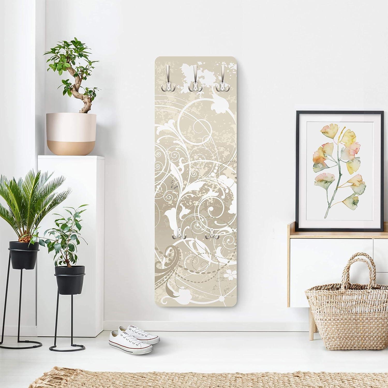 WTD Portemanteau en panneau MDF Motif orchid/ées Blanc