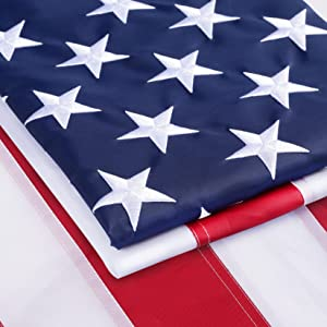 Homissor American Heavy Duty Flag 100% Made in US 3x5 FT with Stitch Embroidered Stars Sewn Stripes and Brass Grommets Heavyweight Flag Weatherproof Standard for Outdoor