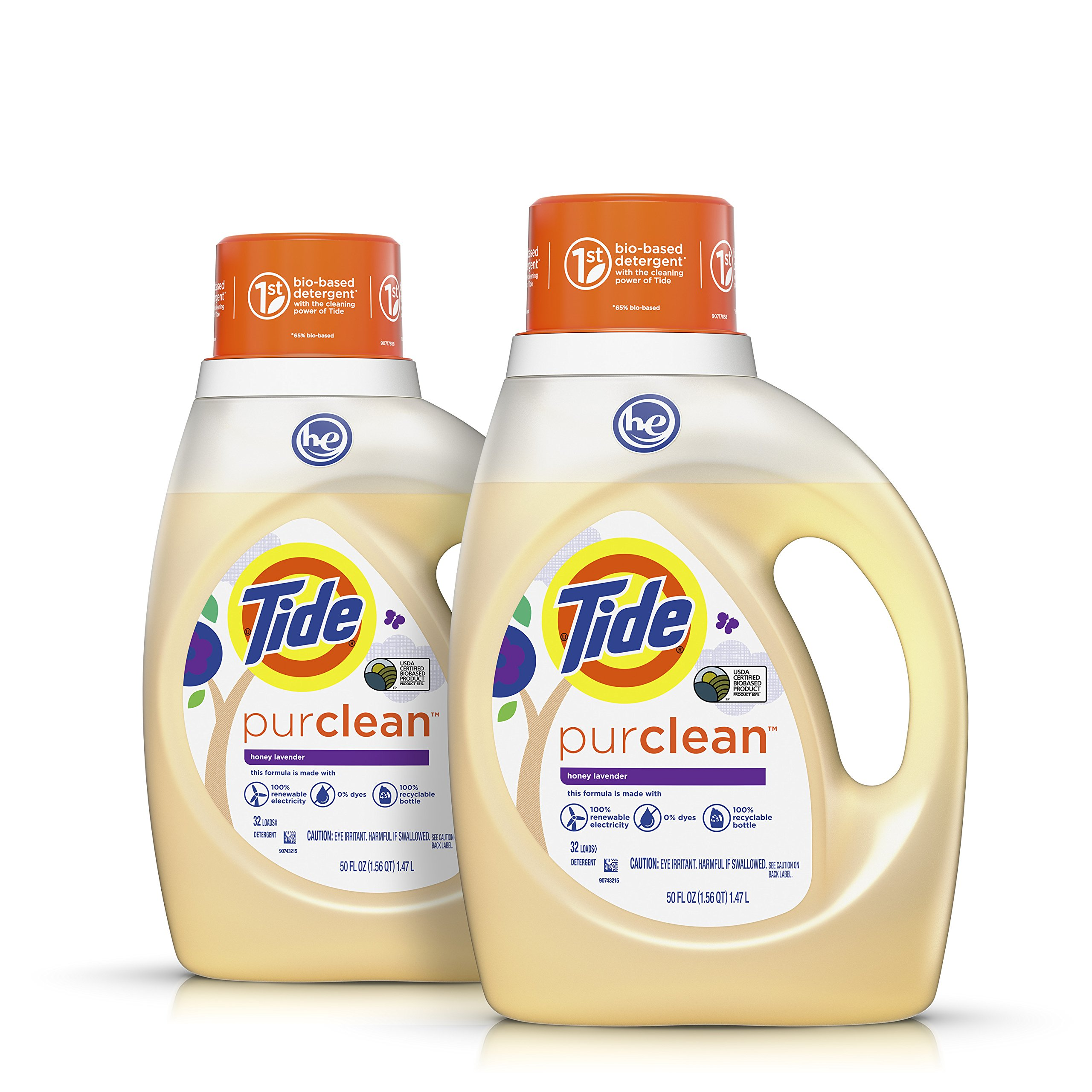 Tide Purclean Plant-Based Laundry Detergent, Honey Lavender Scent, 2x50 oz, 64 Loads(Packaging May Vary)