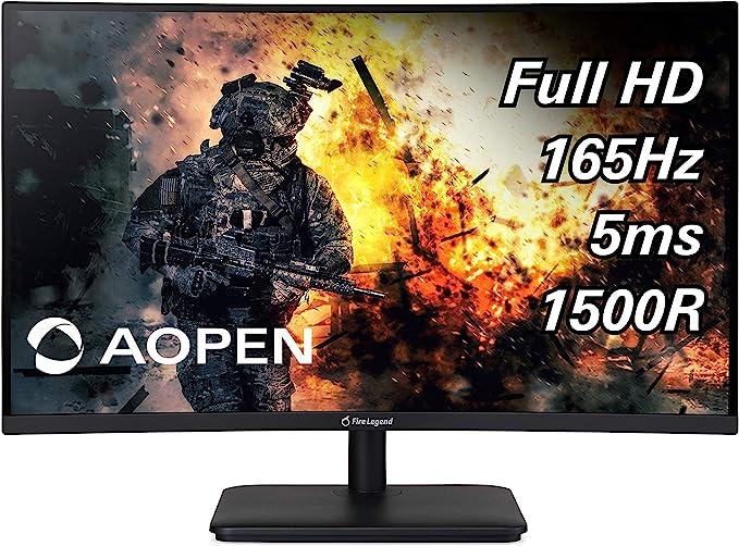 """AOPEN 27HC5R Pbiipx 27"""" 1500R Curva Full HD (1920 x 1080) VA Monitor de Juegos con tecnología AMD Radeon FREESYNC Premium, 165 Hz (Puerto de visualización y 2 Puertos HDMI): Amazon.com.mx: Electrónicos"""