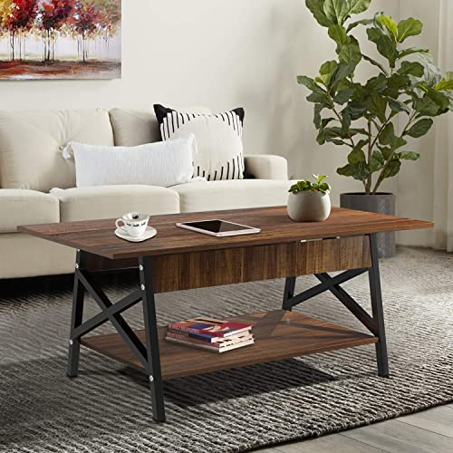 Yesker Industrial Coffee Table, Two Tier Rectangular Center Table with Open Storage Shelf for Living Room, Accent Cocktail Table with Wood and Metal Frame 45 , Rustic Brown