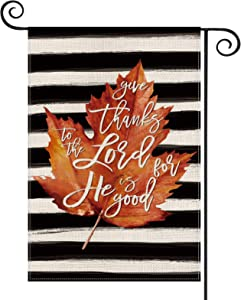 AVOIN Thanksgiving Watercolor Stripe Maple Leaf Garden Flag Vertical Double Sized, Give Thanks to The Lord Fall Autumn Yard Outdoor Decoration 12.5 x 18 Inch