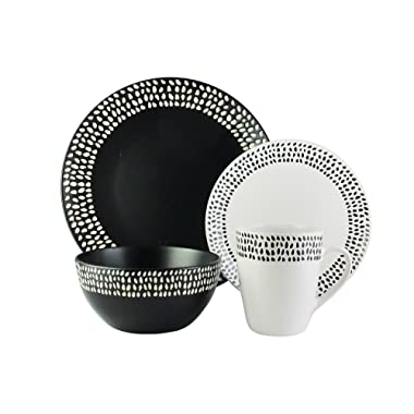 American Atelier 6953-16-RB Aylin 16 Piece Round Dinnerware Set 10.5  x 10.5  Black/White