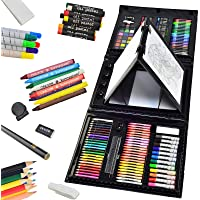 Sunnyglade 185 Pieces Double Sided Trifold Easel Art Set, Drawing Art Box with Oil Pastels, Crayons, Colored Pencils…
