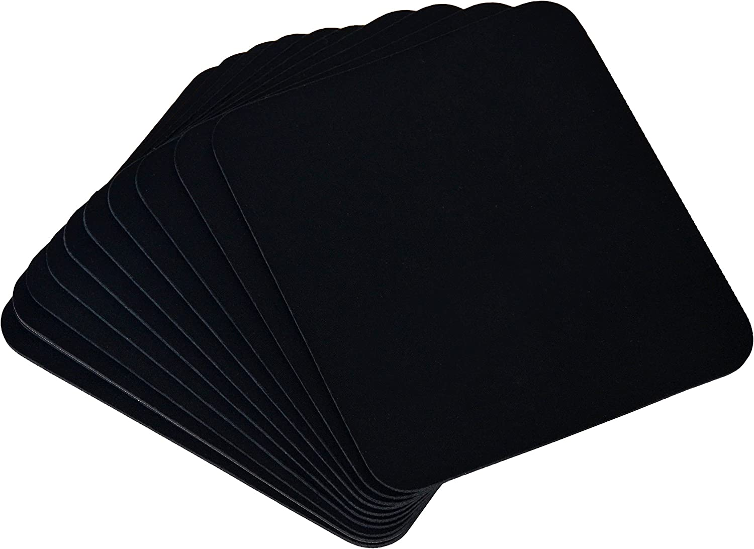 Home Advantage Mouse Pads Bulk Pack 8 inch x 9 3//8 inch Smooth Fabric Mousing Surface Black, 5-Pack