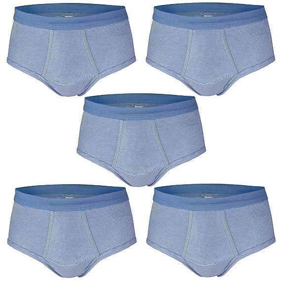 Herren Sport Slip ESGE 3er Pack Jeans Dunkel-Blau Hell-Blau und Schwarz Unterhose Feinripp mit Eingriff und weichem Komfortbund Gr/ö/ße 5 bis 9