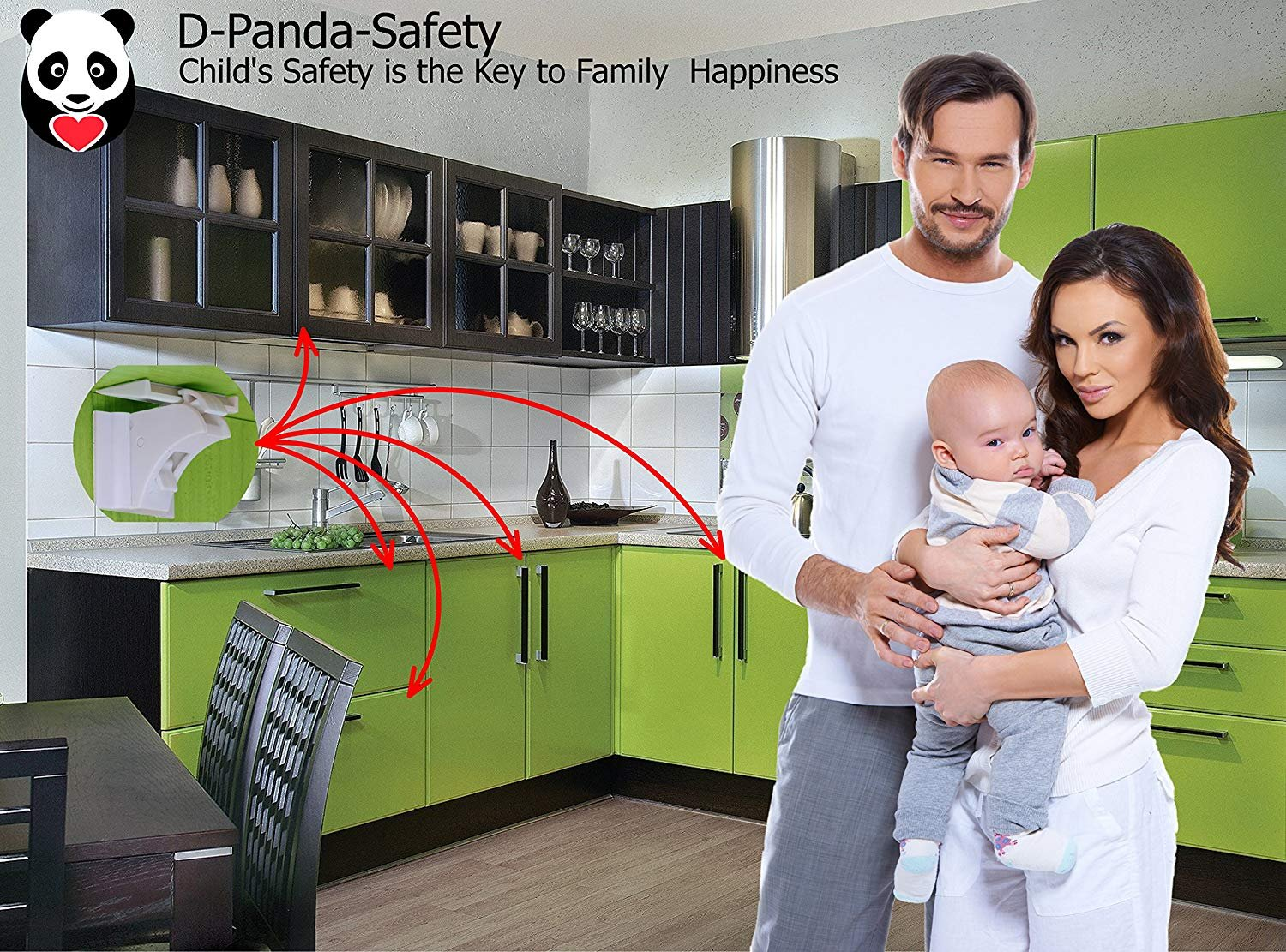 Child Safety Magnetic Cabinet Locks - Invisible Baby Proof Latch Set 8 Locks & 2 Keys Heavy Duty Locking System for Proofing Cabinets Drawers Doors Kitchen with 3M Adhesive (Tools aren't Required) by D-Panda-Safety (Image #7)