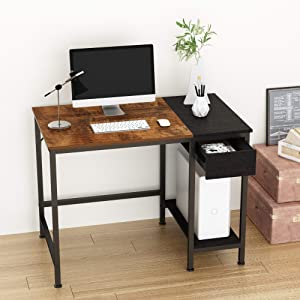 JOISCOPE Computer Desk for Home Office,Laptop Desk with Metal Drawer,Industrial Study Writing Table with Storage Shelves,Simple Table with Splice Board,40 inches (Vintage Oak Finish)