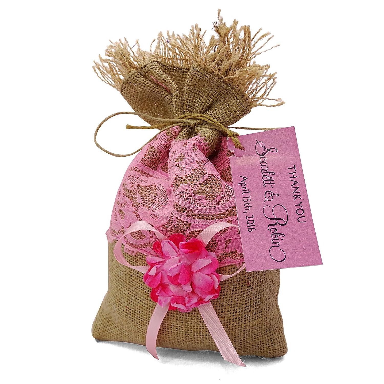 Amazon.com: Darling Souvenir 20 Small Burlap Bags Wedding Favor Bags ...