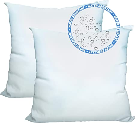 Amazon Com Foamily Set Of 2 24 X 24 Premium Outdoor Water And Mold Resistant Hypoallergenic Stuffer Pillow Throw Inserts Sham Square Form Standard White Made In Usa Garden Outdoor