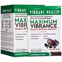 Vibrant Health - Maximum Vibrance, Plant-Based Meal Replacement Rich with Vitamins, Minerals, Antioxidants, and Protein, Vegetarian, Non-GMO, Chocolate Chunk, 10 Packets
