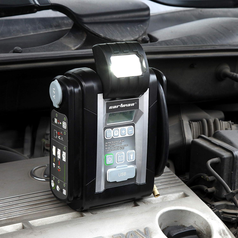 LCD Screen 2 x USB 2.4A 600A Peak 9000mAh CARTMAN Lithium Jump Starter with Digital Preset Air Compressor
