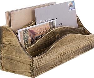 MyGift Rustic Burnt Wood Desktop Mail & Document Sorter