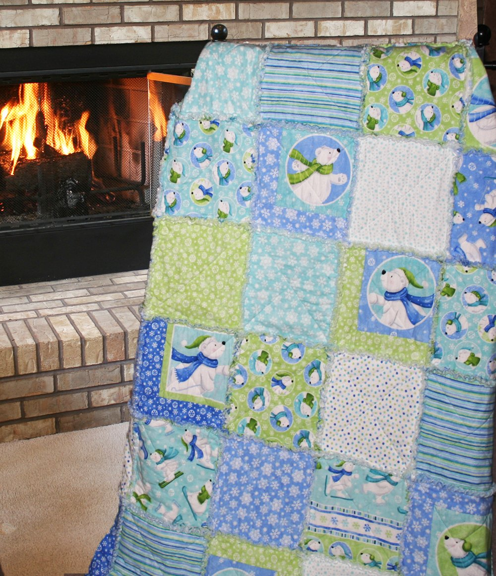 Easy Quilt Kit - Exclusive Snow Polar Bears Flannel Snuggler ''Rag'' Quilt - Black Friday Savings Now! by Homespun Hearth (Image #2)