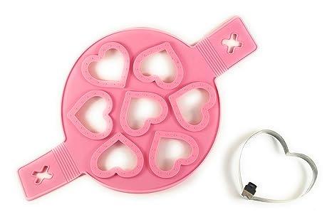 Fácil Fun Cute corazón formas plástico y acero inoxidable Hotcakes Pancake Huevo Mold Set para niños
