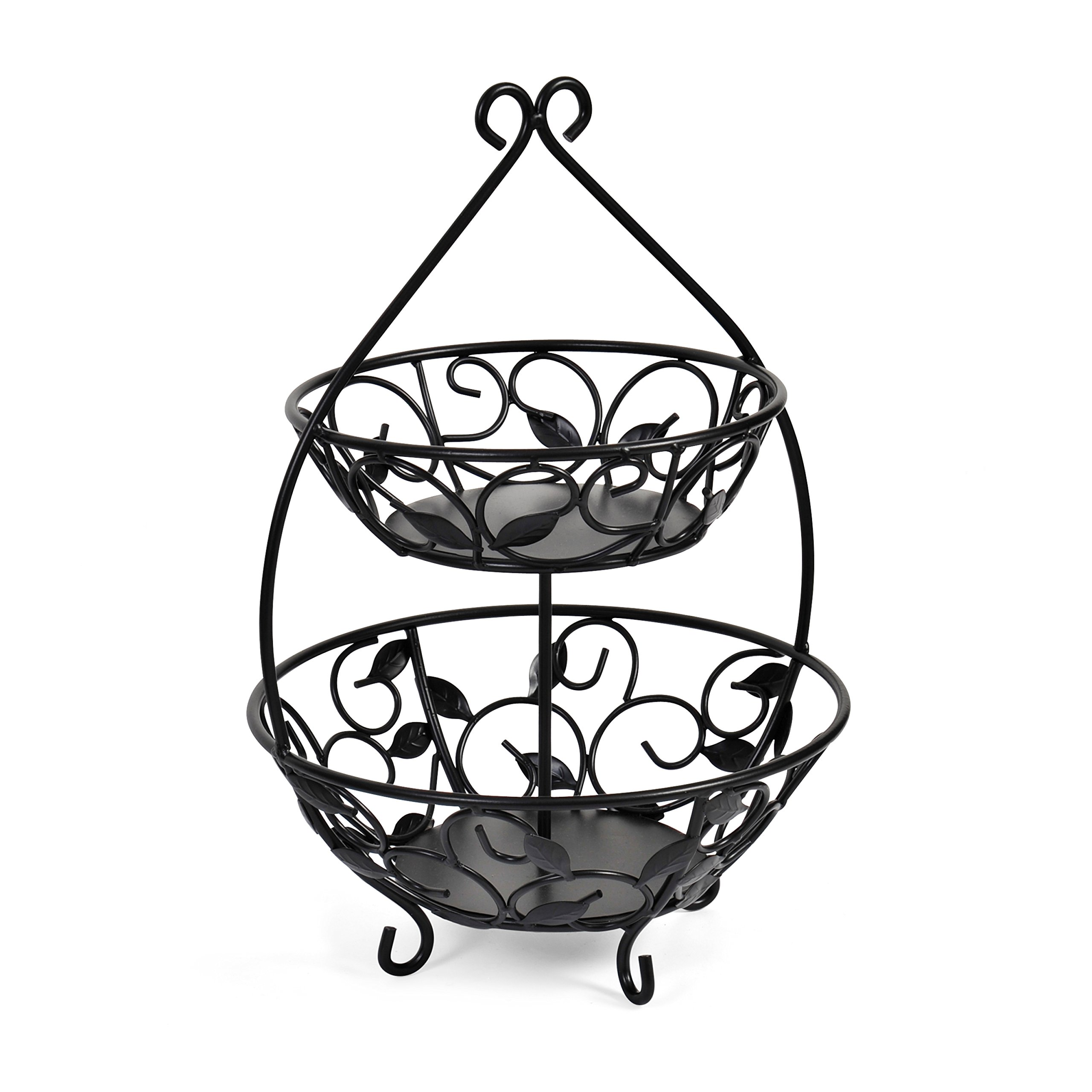 Pfaltzgraff Basics Leaf 2-Tier Wire Fruit Bowl, 12.75-Inch, Black  - 5148732