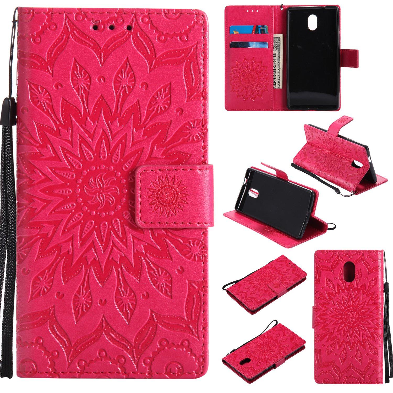 BoxTii Coque Nokia 3, Etui en Cuir de Première Qualité [avec Gratuit Protection D'écran en Verre Trempé], Housse Coque pour Nokia 3 (#3 Rose) F00A13-NK3-K03