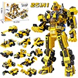 25-in-1 STEM Building Toys for Kids - Creative Brick Kits for a Big Robot or 12 Small Trucks, Best Gifts for Age 6 7 8 9…