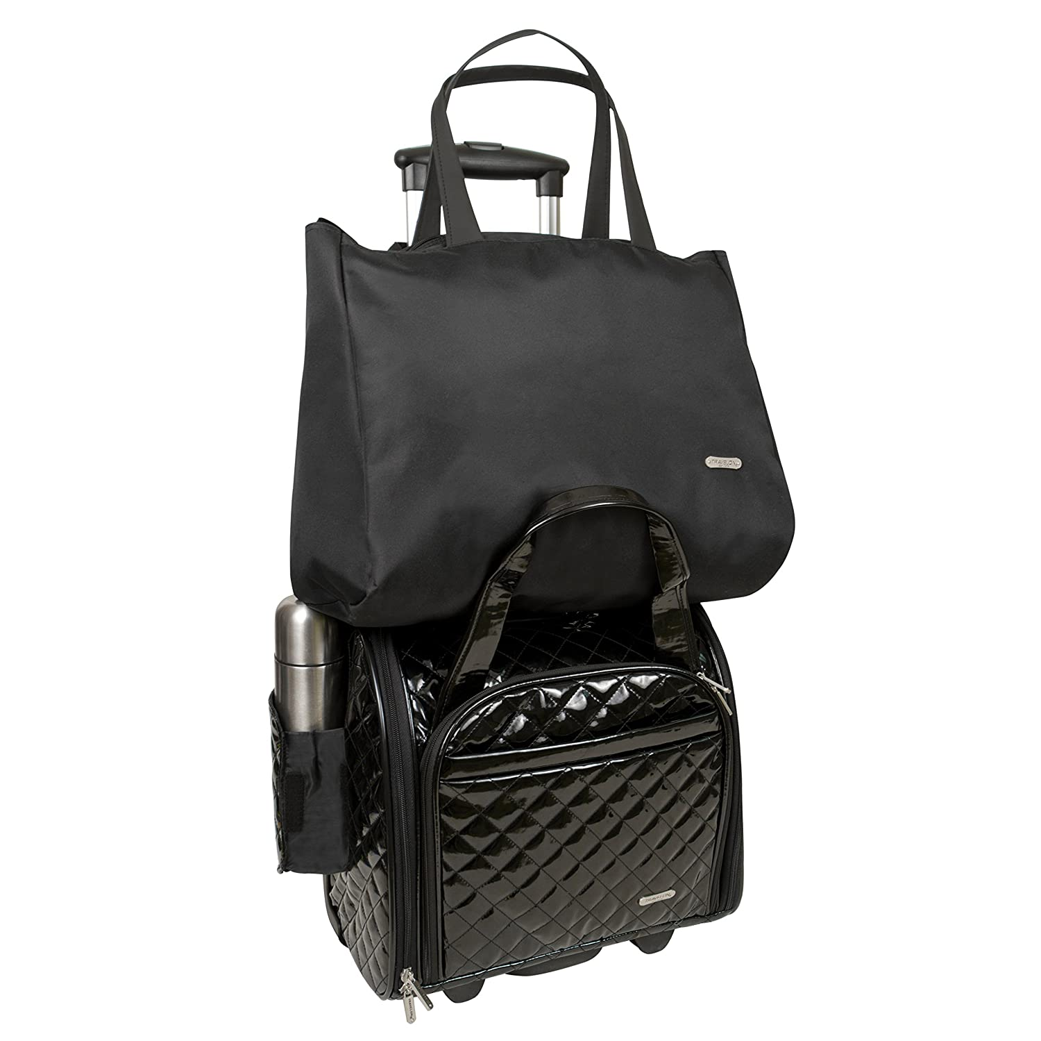 6456cffab Small 14545 500 Black Travelon Luggage Wheeled Underseat Carry-On With Back-Up  Bag In Quilted ...