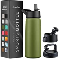 Triple-Insulated Stainless Steel Water Bottle with Straw Lid - Flip-Top Lid - Wide-Mouth Cap (25 Oz) Insulated Water…