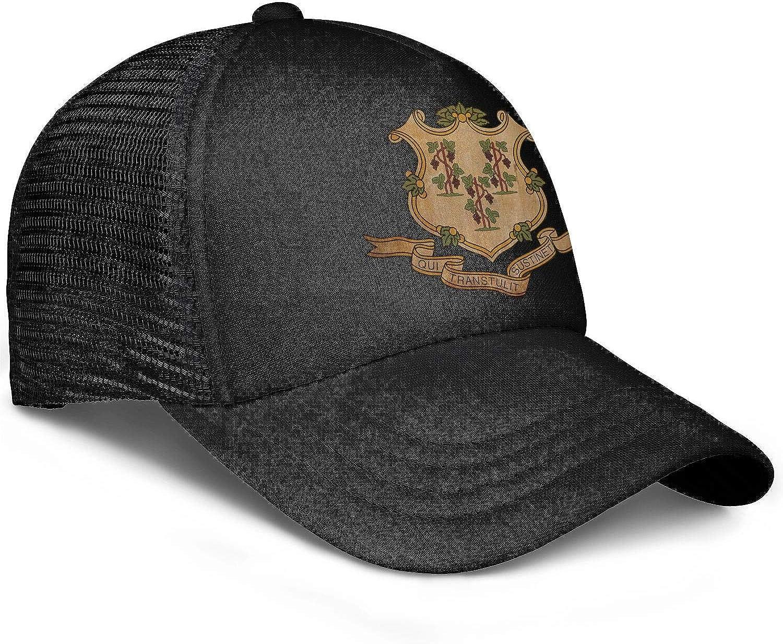 Vintage-Retro-Connecticut-Flag-Art Unisex Women Exercisegraphic Caps Hats