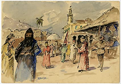 Amazon com: Antique Drawing-JEDDAH-SAUDI ARABIA-MARKET-RED