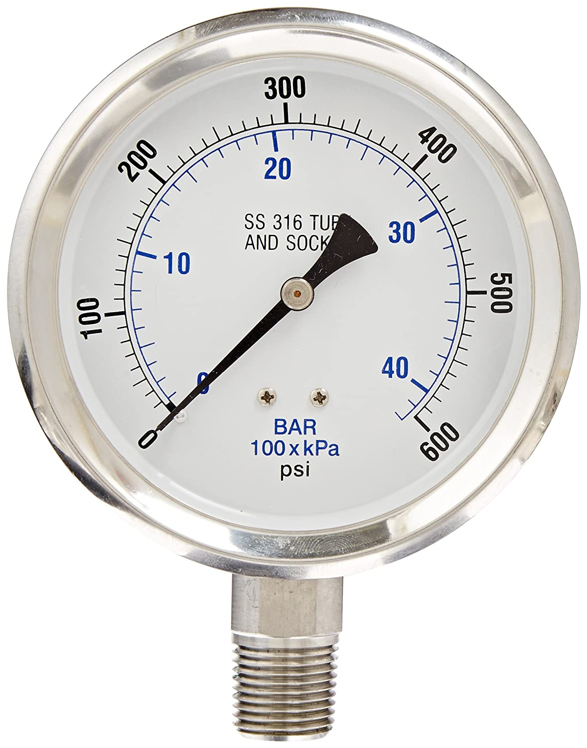 Stainless Steel Bezel 0//10000 psi Range 1//4 Male NPT Connection Size PIC Gauge 301D-404U 4 Dial Bottom Mount Dry Pressure Gauge with a Stainless Steel Case and Internals and Polycarbonate Lens 1//4 Male NPT Connection Size PIC Gauges