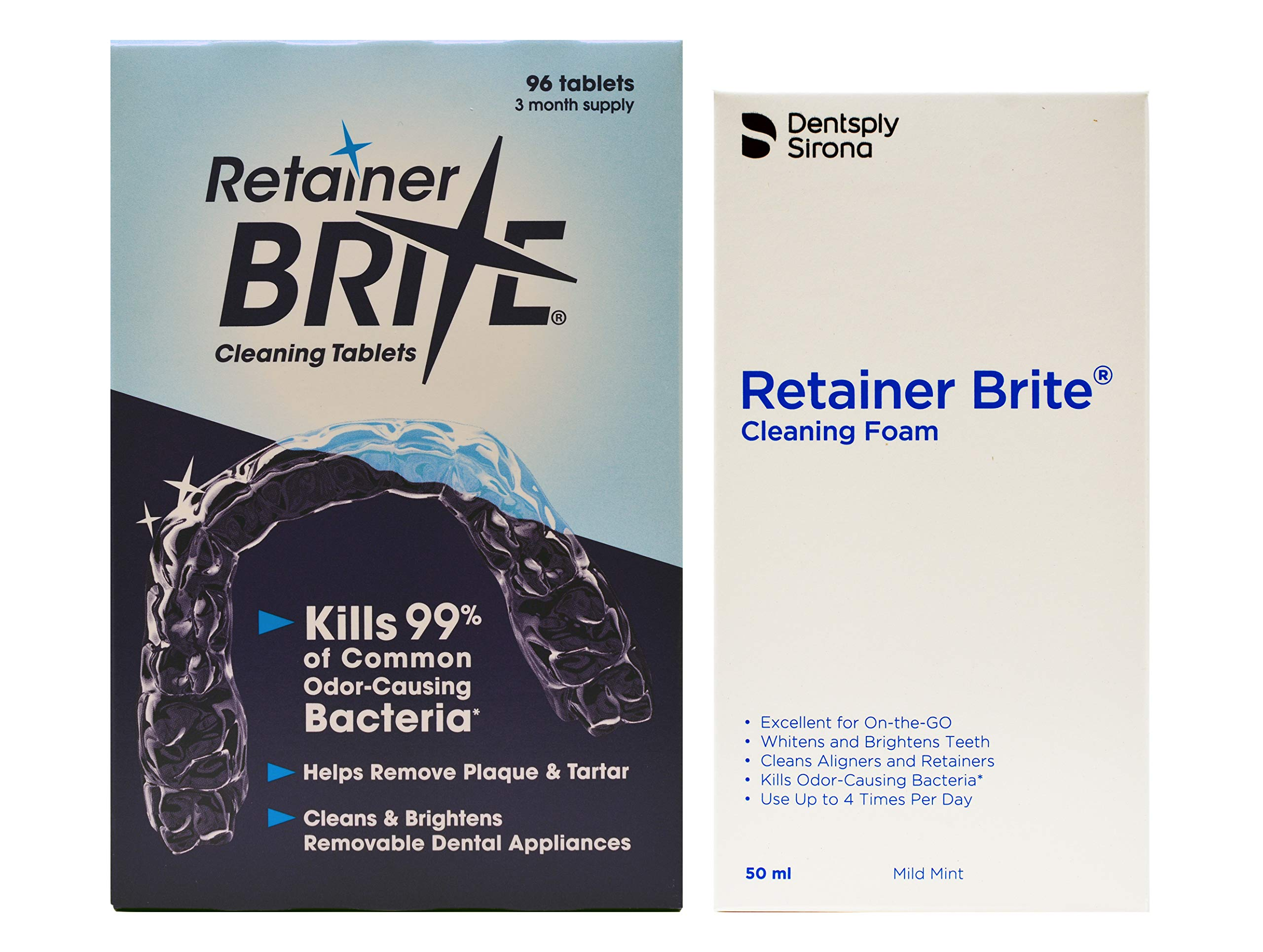 Retainer Brite 96 Tablets (3 Months Supply) and Retainer Brite Cleaning Foam (50 ml Bottle)