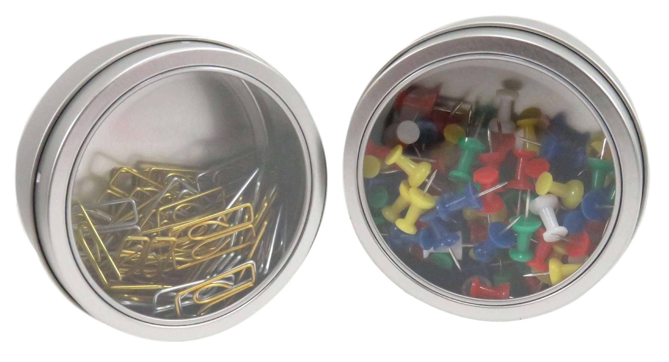 Magnetic Round Paper Clip Holder Container Case Organizer 3.5 x 1.5 Clear Silver (Set of 2)