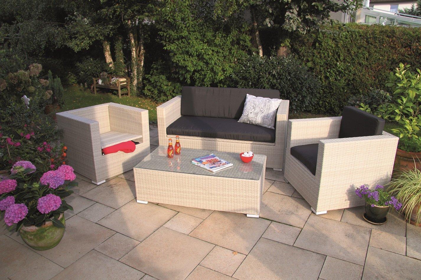 Luxus Poly Rattan Lounge Elba Storage Antikweiß mit integrierten Kissenboxen und wasserabweisenden Kissen von Forma Outdoor Living