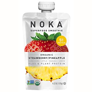 NOKA Superfood Pouches (Strawberry Pineapple) 6 Pack | 100% Organic Fruit And Veggie Smoothie Squeeze Packs | Non GMO, Gluten Free, Vegan, 5g Plant Protein | 4.2oz Each