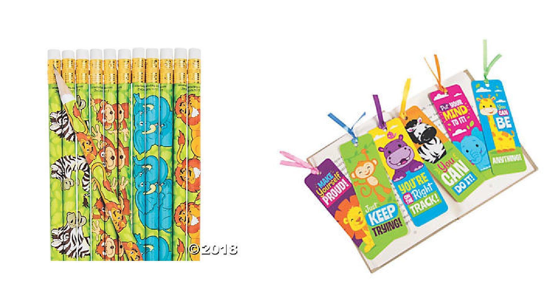 CVN Adorable 72 pce. Jungle / Safari / Zoo Animal Party Favors / Student-Classroom Prizes / 24 Zoo Animal Pencils & 48 Laminated Jungle Bookmarks