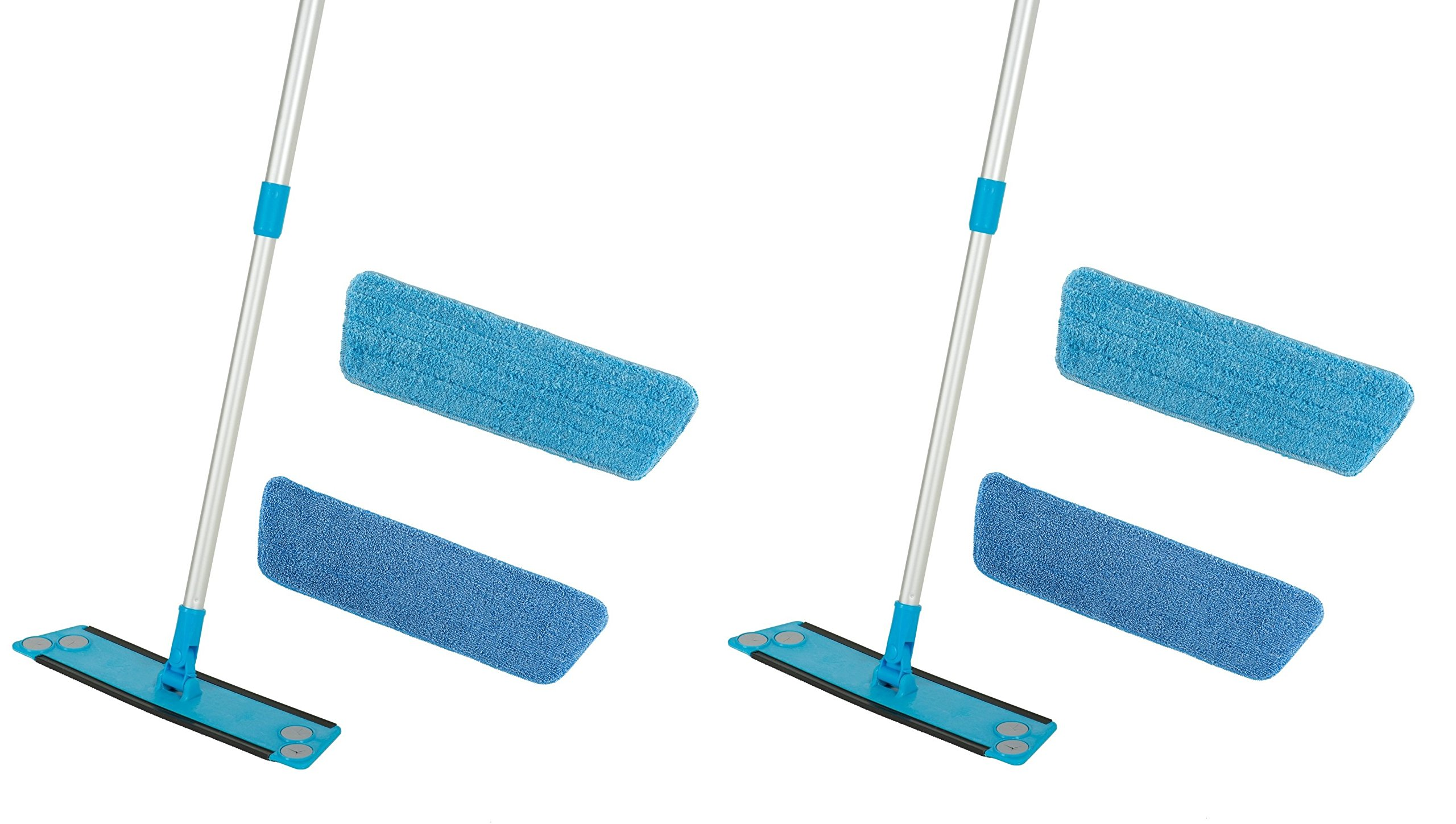 2 Pack Simplee Cleen Microfiber Swivel Household Mop Kit with Two Pads