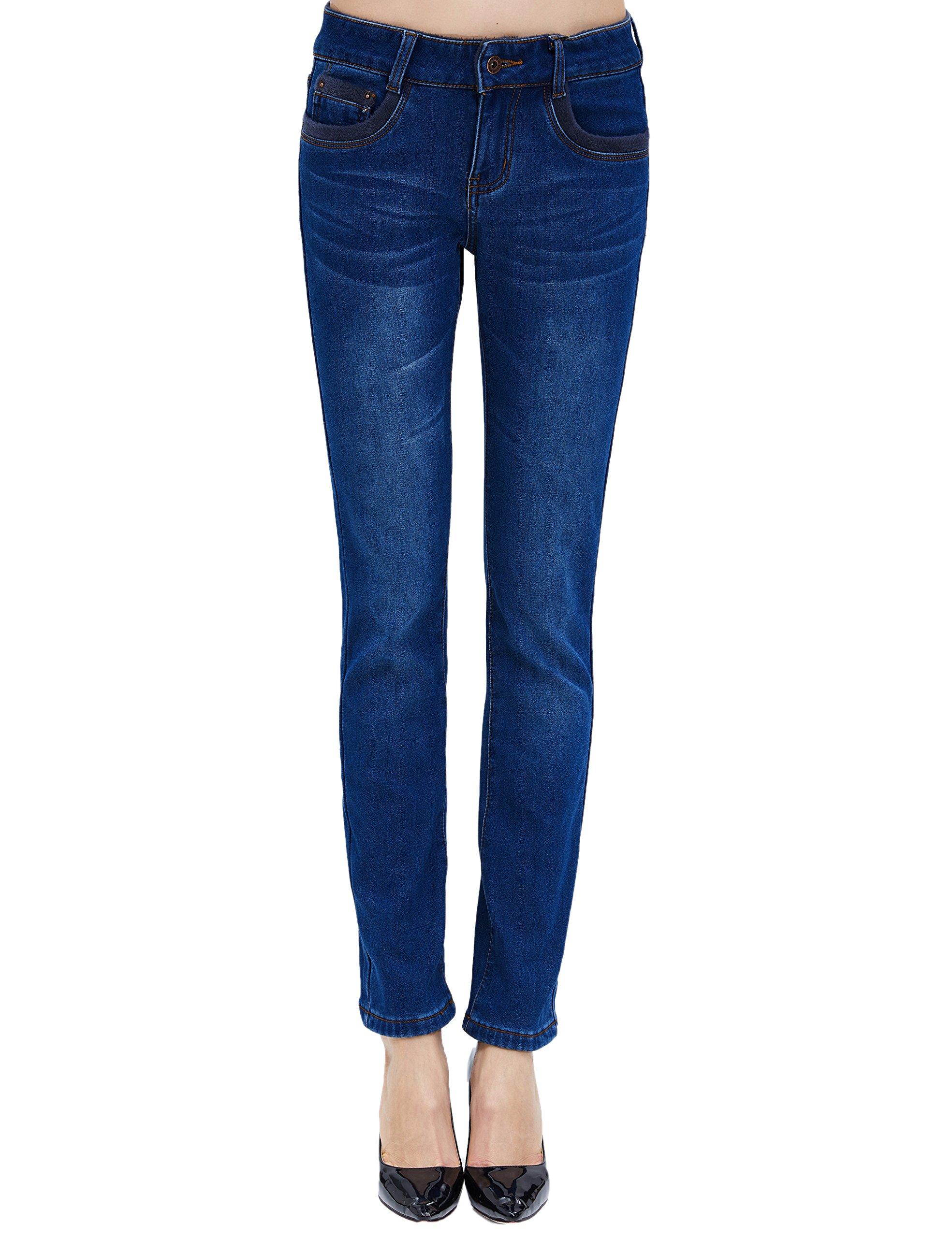 Camii Mia Women's Winter Slim Fit Thermal Jeans Pants (W29 x L30, Blue (New Size))