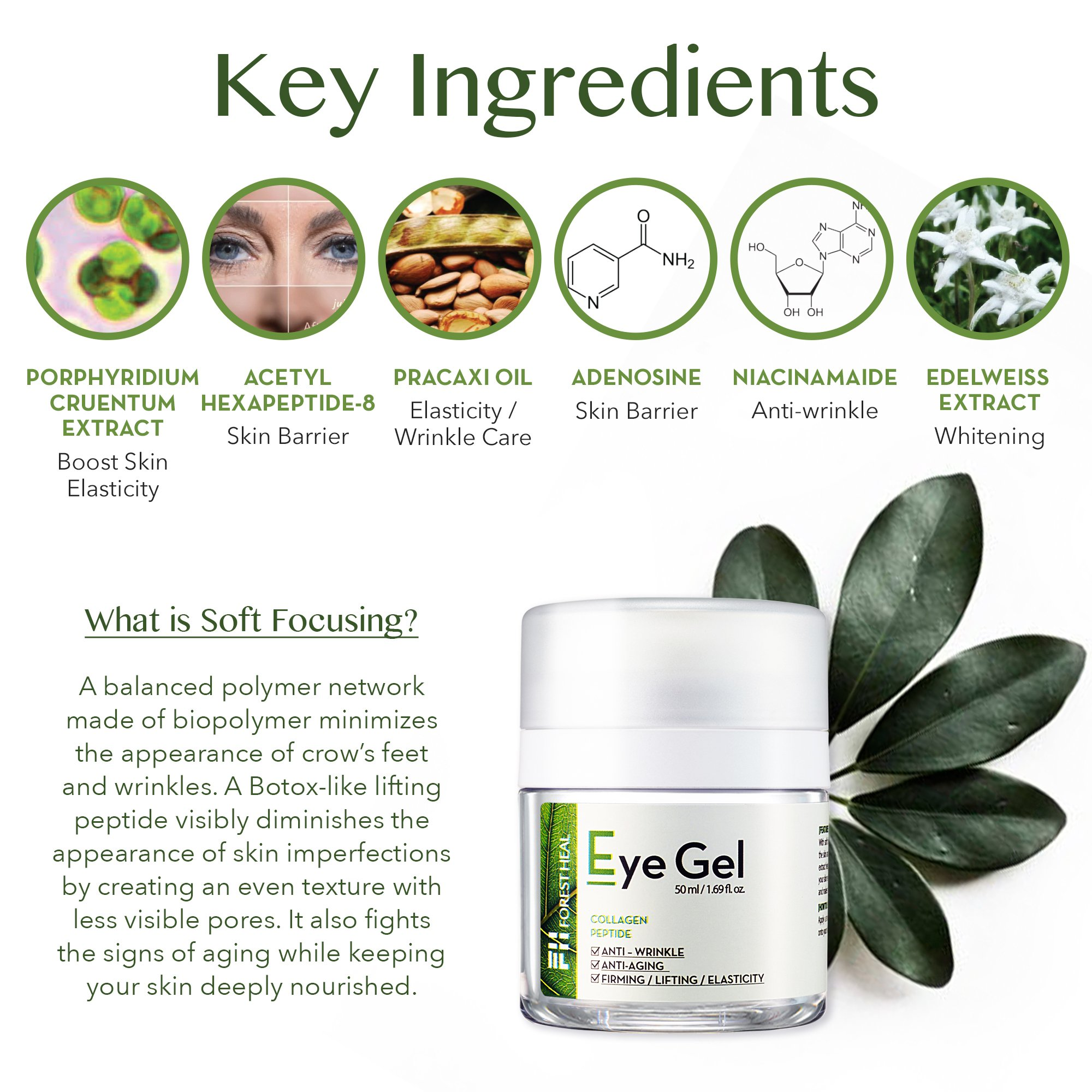Forest Heal Eye Gel With Collagen Peptides and Niacinamide - Natural Anti Aging, Anti Wrinkle Moisturizer For Under and Around Eyes - 1.69 fl.oz. by Forest Heal (Image #5)