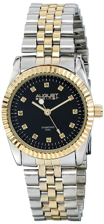 Amazon.com: August Steiner Womens AS8046TTG Diamond Accented Black Dial Silver & Yellow Gold Bracelet Watch: August Steiner: Watches