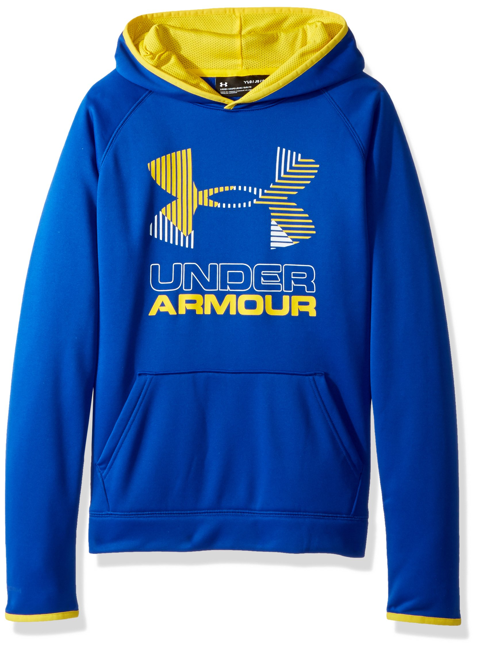 Under Armour Boys' Armour Fleece Solid Big Logo Hoodie, Royal /Yellow Ray, Youth Medium by Under Armour