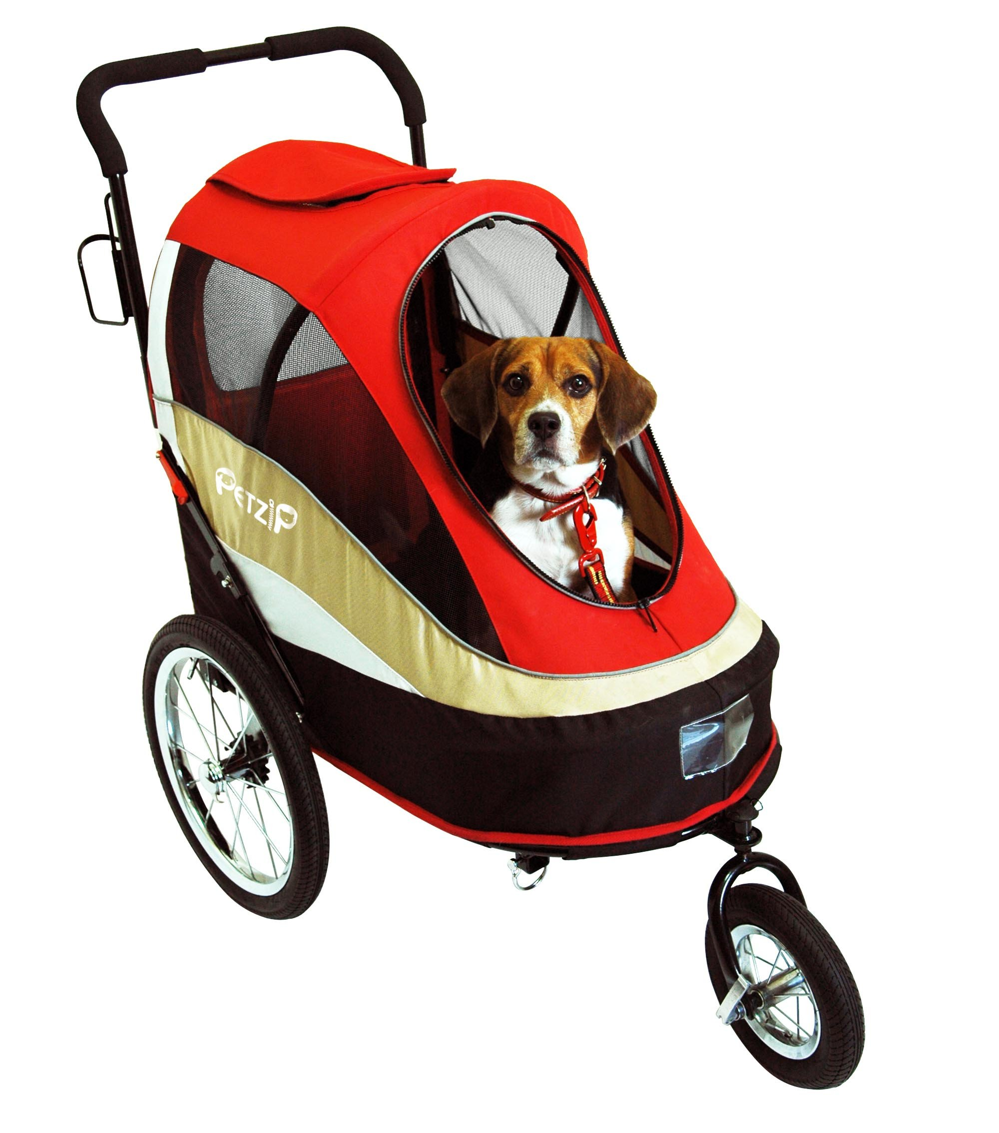 PetZip Pet Happy Trailer Stroller, Red