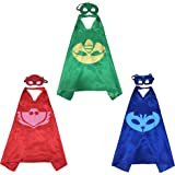 PJ Mask Super Team Kids Cape and Mask Costumes, 3-Set Gekko, Catboy