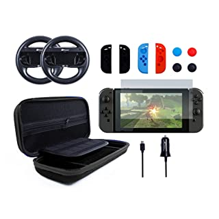 Pegly 13-1 Black Accessories Kit For Nintendo Switch, Including HD Carrying Case,Two Joy-Con Steering Wheels, Car Charger, Joy-con Silicon case and Tempered Glass