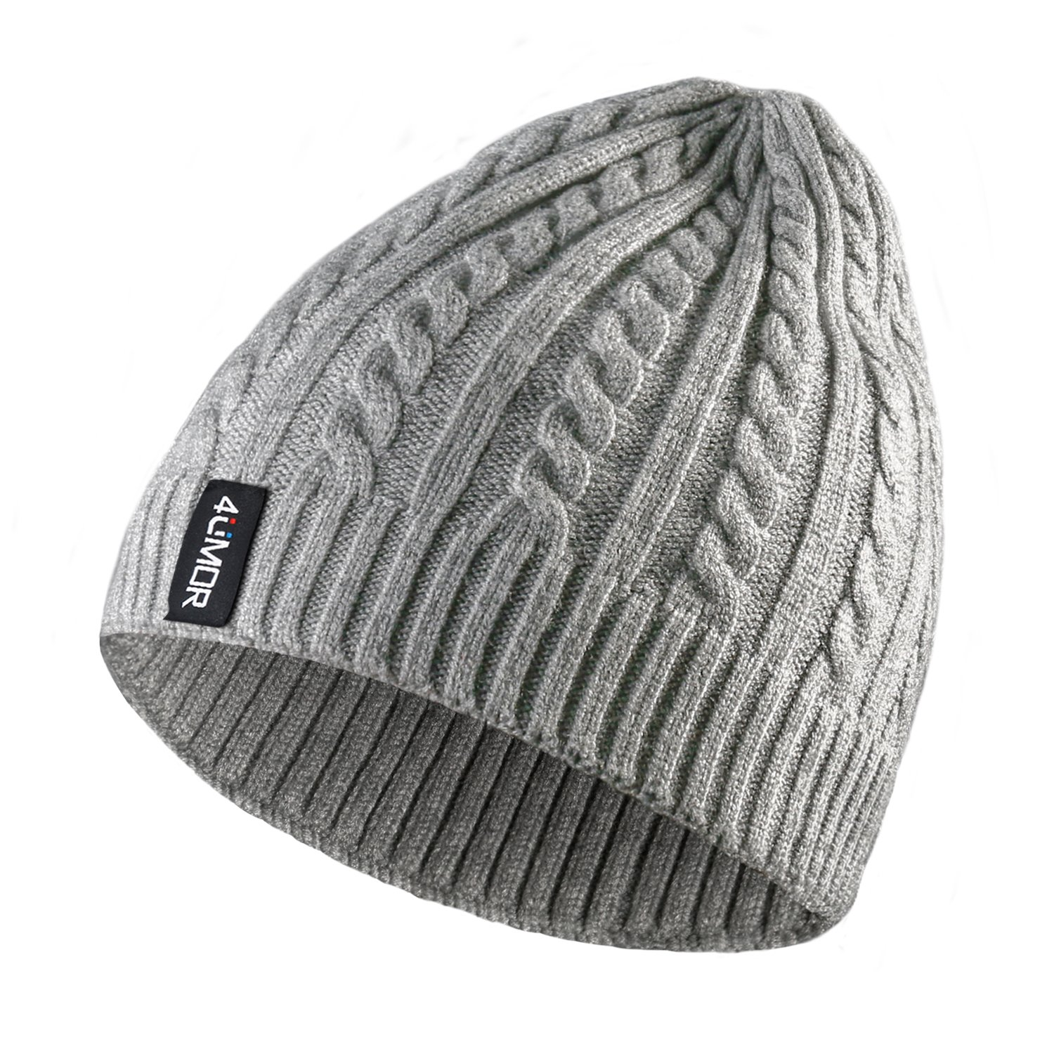 4UMOR Beanie Knit Hats Double-Deck Winter Warm Outdoor, For Travel/Hiking/Camping/Fishing/Cycling/Ski, Fits Youth/Couple, Black/Gray, One Size, Unisex Unisex (Black) FY10910008-UK