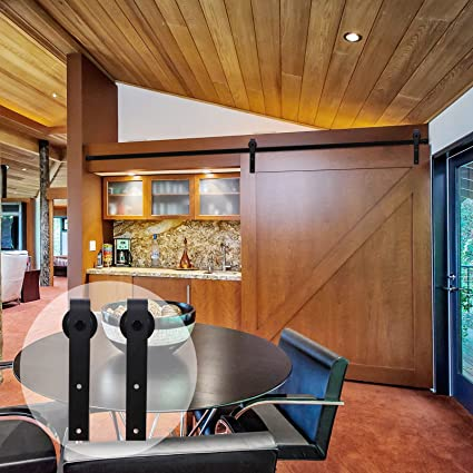 CCJH American Country Flat Style Steel Sliding Barn Door Hardware Interior For Single Black