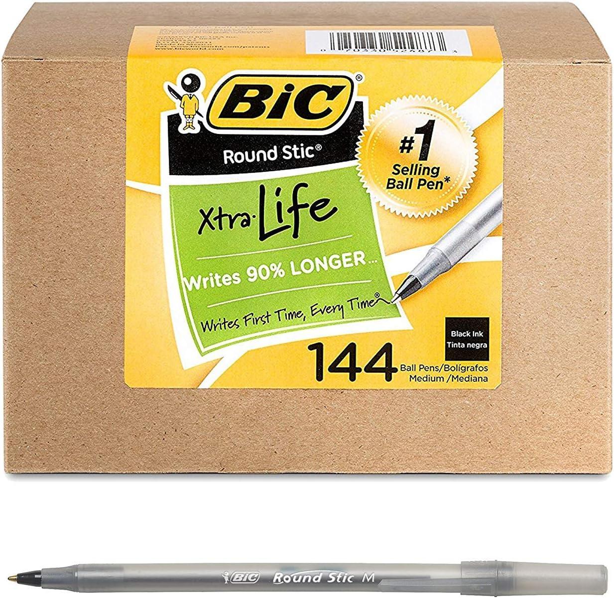 Black BIC Round Stic Xtra Life Ballpoint Pen 1.0mm 144 Count Medium Point