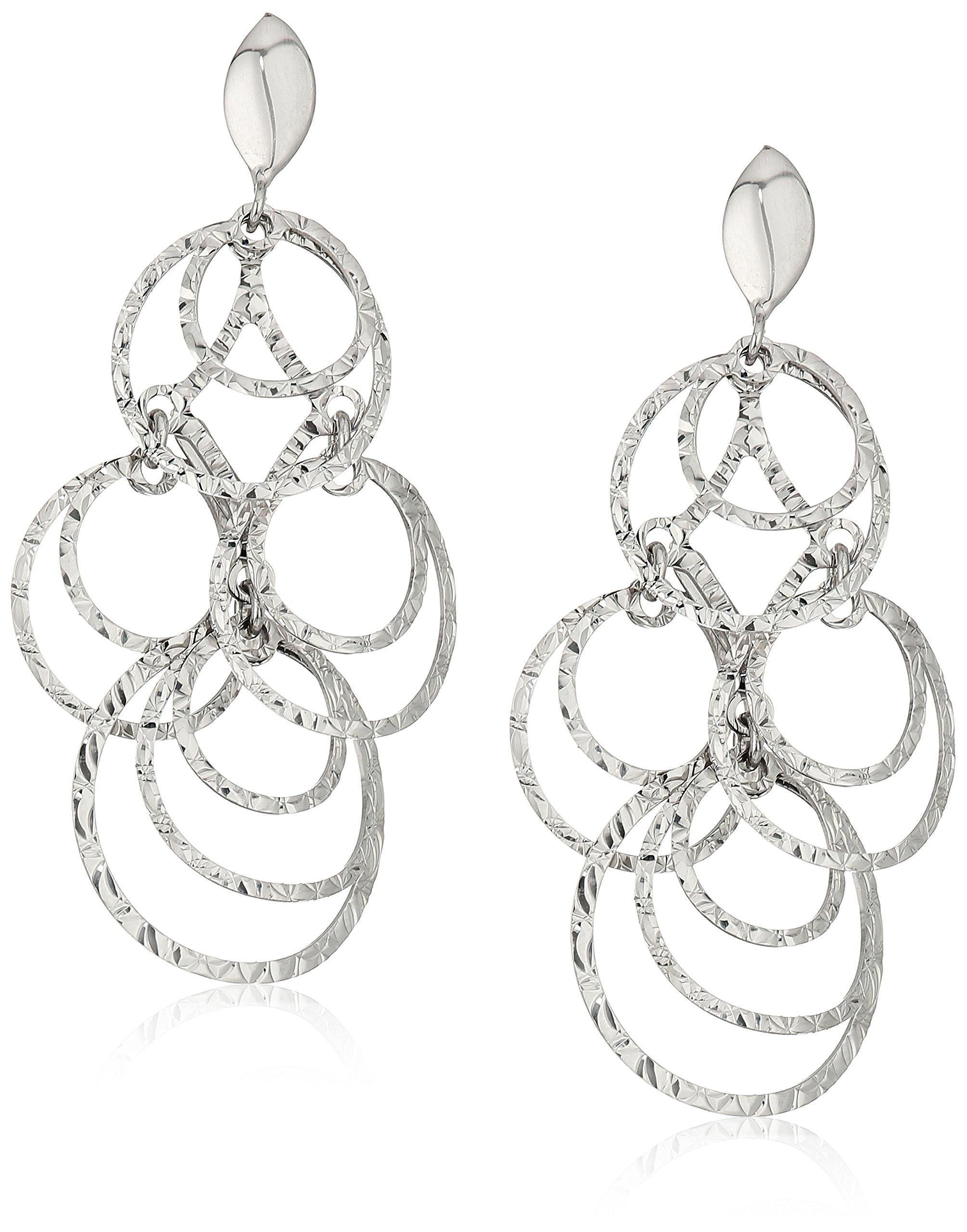 TreEsse Italian 10k White Gold Tiered Chandelier Dangle Earrings
