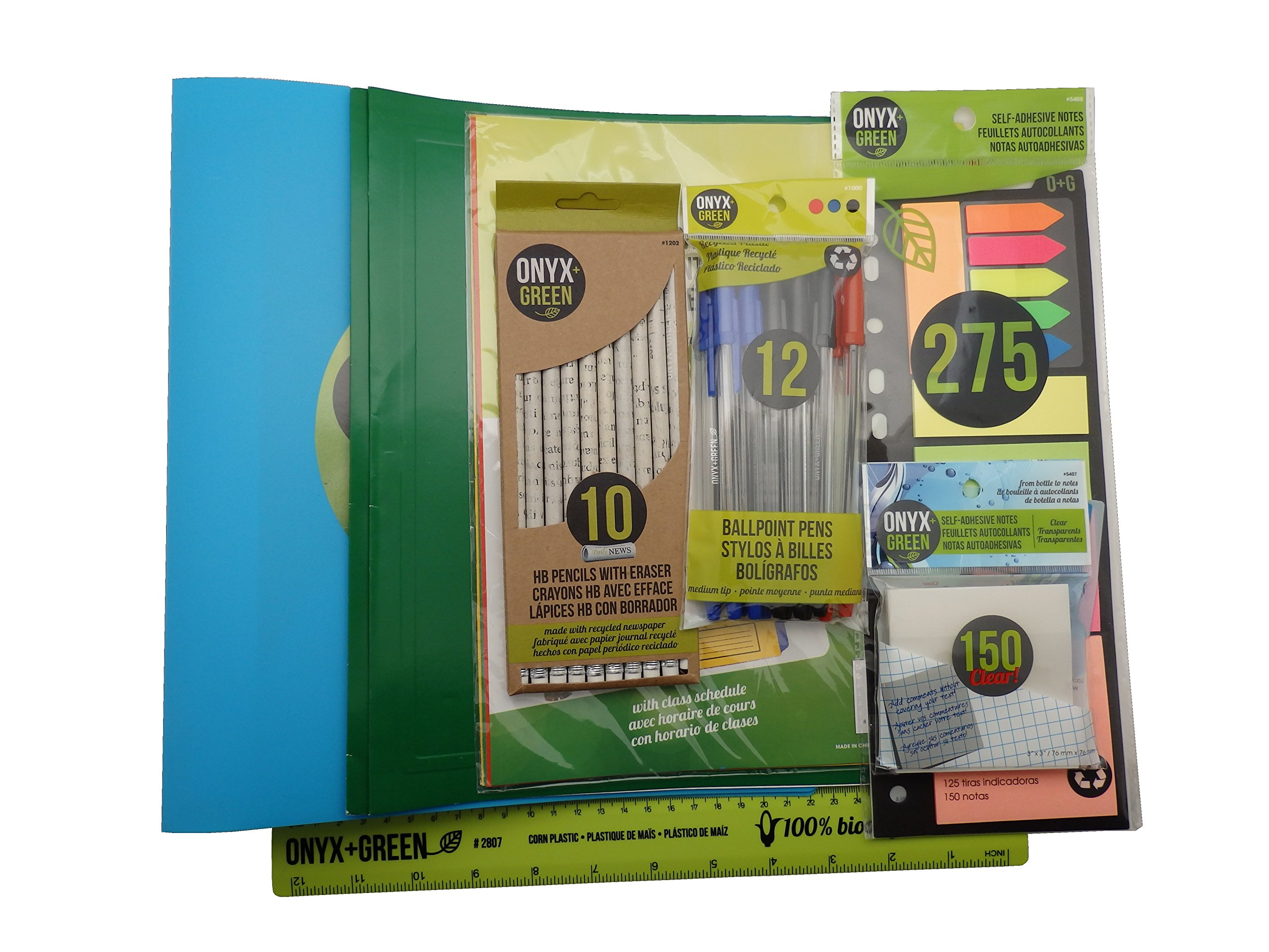Recycled Sustainable Materials Green Eco Friendly School Office Supplies Kit - Binder and Presentation Folder Set